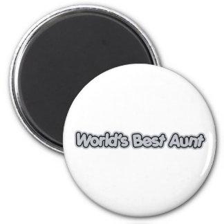World's Best Aunt (Gray) 2 Inch Round Magnet