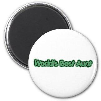 World's Best Aunt (Green) 2 Inch Round Magnet
