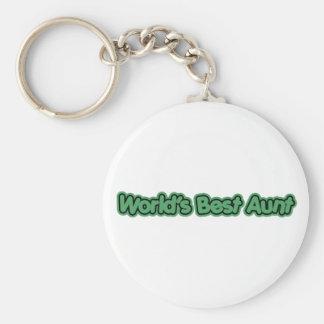 World's Best Aunt (Green) Basic Round Button Keychain