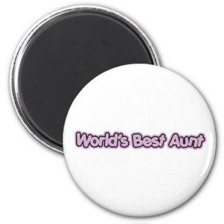 World's Best Aunt (Pink) 2 Inch Round Magnet