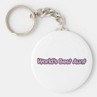 World's Best Aunt (Pink) Basic Round Button Keychain
