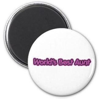 World's Best Aunt (Purple) 2 Inch Round Magnet