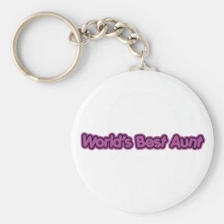 World's Best Aunt (Purple) Basic Round Button Keychain