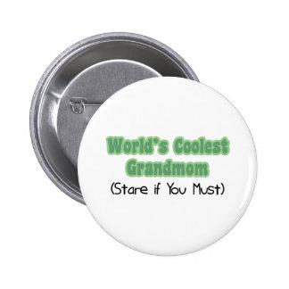 World's Coolest Grandmom Pinback Buttons