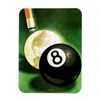 World as Cue Ball Rectangle Magnets