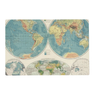 World Atlas Map 2 Laminated Placemat