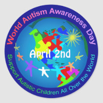 World Autism Awareness Day Classic Round Sticker