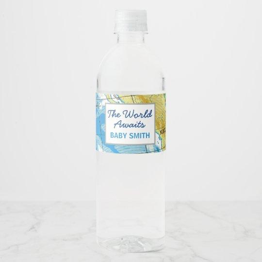 World Awaits Baby Shower Water Bottle Label Zazzle