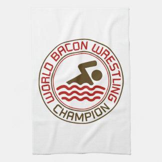 World Bacon Wrestling Champion Hand Towels