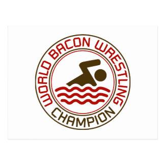 World Bacon Wrestling Champion Postcard