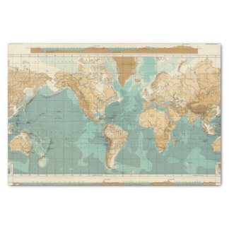 """World bathyorographical map 10"""" x 15"""" tissue paper"""