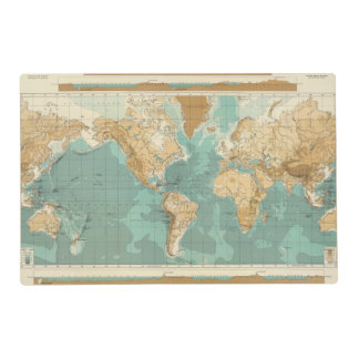 World bathyorographical map placemat