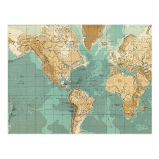 World bathyorographical map postcard