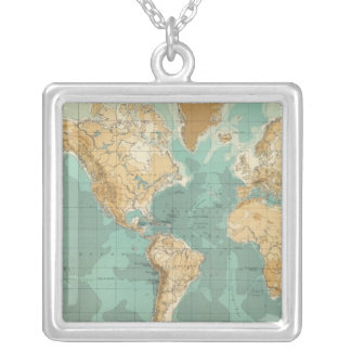 World bathyorographical map square pendant necklace