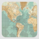 World bathyorographical map square sticker