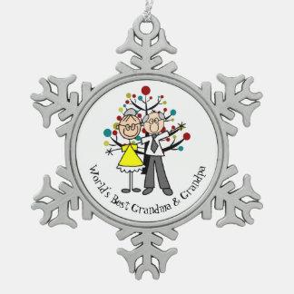 World Best Grandma and Grandpa Snowflake Ornament