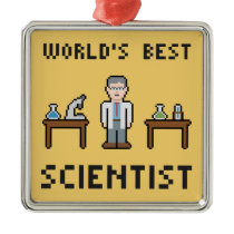 World Best Scientist Metal Ornament