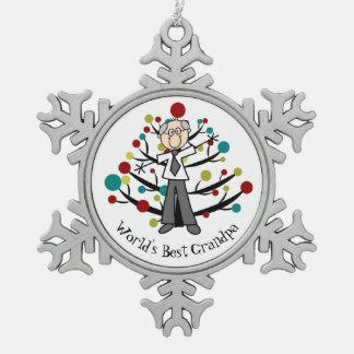 World BestGrandpa Snowflake Ornament