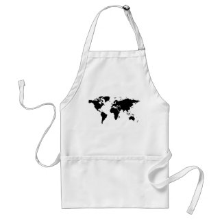 world black graphic map adult apron
