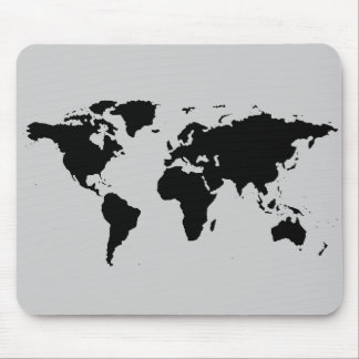 world black graphic map mouse pads