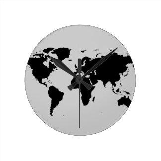 world black graphic map round clock