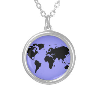 world black graphic map silver plated necklace