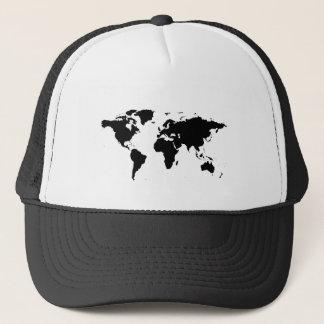world black graphic map trucker hat