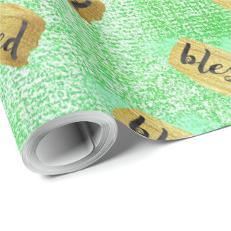 World Blessed Gold Mint Corporate Glam Gift Wrapping Paper
