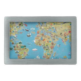 World Cartoon Map Rectangular Belt Buckle