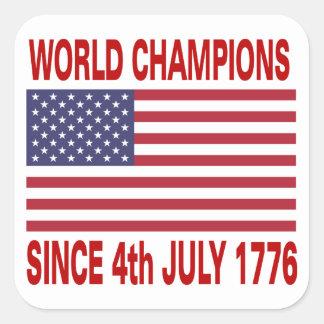 World champions since 1776 square sticker