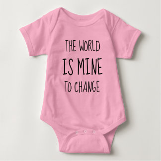 World Change Hero Empower Feminist Typography Baby Bodysuit