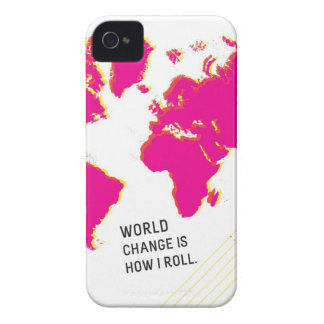 World Change Is How I Roll (Pink & White) iPhone 4 Covers