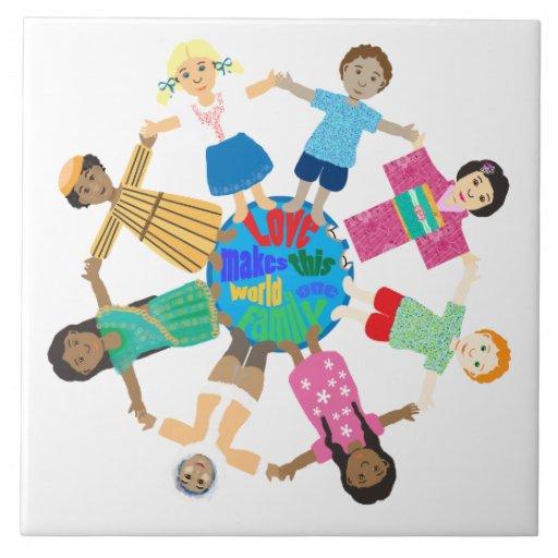 World children holding hands ceramic tiles