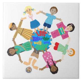 World children holding hands large square tile