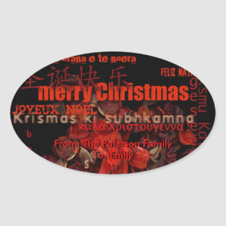 World Christmas Feliz Navidad Personalized Sticker