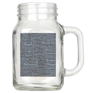 World Cities Mason jars