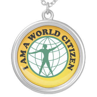 World Citizen Badge by World Service Authority Round Pendant Necklace
