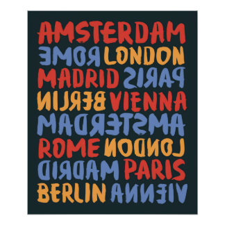 World City | Brush and Ink Typography Pattern Poster