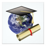 World Class Graduation - Cap and Golden Diploma 5.25x5.25 Square Paper Invitation Card