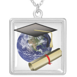 World Class Graduation - Cap and Golden Diploma Silver Plated Necklace