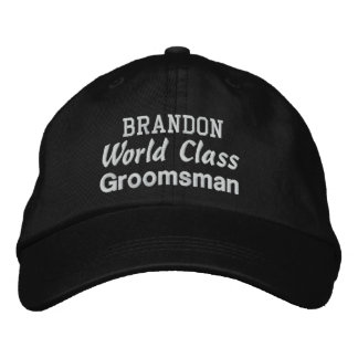World Class GROOMSMAN Custom Name BLACK Cap