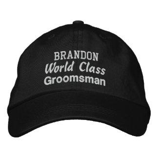 World Class GROOMSMAN Custom Name BLACK Embroidered Baseball Hat