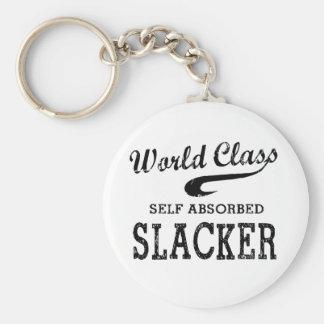 World Class Slacker Basic Round Button Keychain