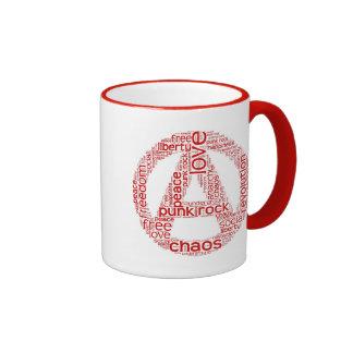 World cloud in anarchy shape ringer coffee mug