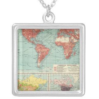 World commerce Map Square Pendant Necklace