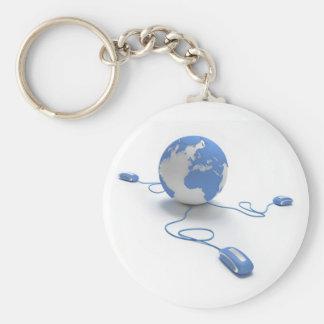 World Connection Basic Round Button Keychain