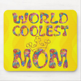 World Coolest Mom   yellow waves Mouse Pad