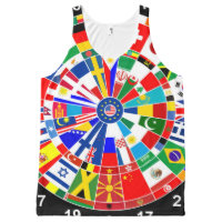 world country flag darts board game travel bulls-e All-Over-Print tank top