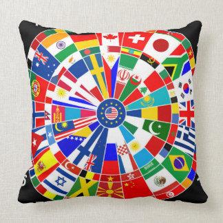 world country flag darts board game travel bulls-e throw pillow