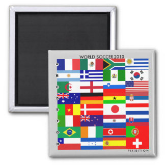 World Cup 2010 All Group Flags Square Magnet